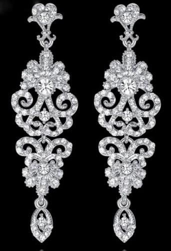 59f54d620404 Kolczyki ażurowe srebrne wiszące cyrkonie Bride shop